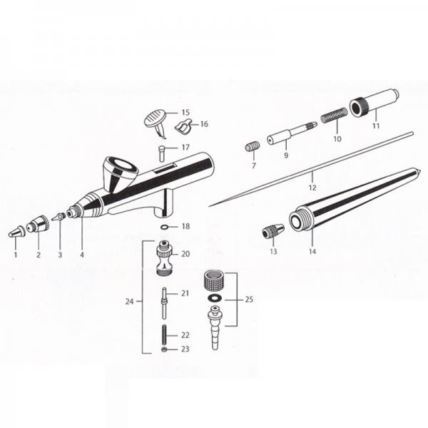 Airbrush AB300 Set Ersatzteile - Spare Parts Nr. 1,2,3,12 Needle Cover Air Cap Nozzle Needle